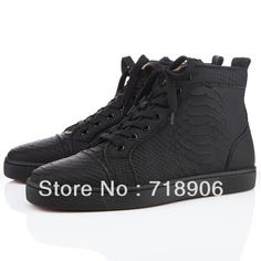 ee5d38eb00f 2013 fashion Red bottom shoes Louis mens flats python high top sneakers  white black on