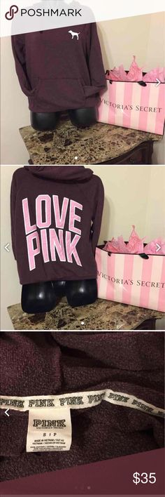 PINK hoodie Maroon with a pink and white logo. Excellent used condition. Oversized fit. No trades. Price is firm. 🌺💜 PINK Victoria's Secret Tops Sweatshirts & Hoodies