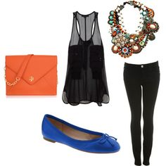 I actually have an orange purse and blue shoes! I could so do this look!