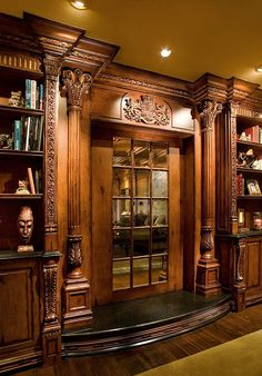 Decorative mouldings and architectural ornamentation by Pearlworks. Resin casted trims and flexible molding for interior and exterior design and construction, fine architectural wood carvings. Better than hardwood trim molding because its flexible Victorian Interiors, Victorian Furniture, Victorian Homes, Antique Furniture, Beautiful Interiors, Beautiful Homes, Door Design, House Design, Home Libraries