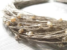 Natural  Pearls Linen Necklace
