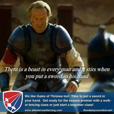 There's a beast in every man and it stirs when you put a sword in his hand.  So let's put a sword in your hand (including women!)  We love Game of Thrones too! Get ready for the season premier with a walk-in fencing class or just start a beginner class in May! (We have a special deal in May)  This Friday 22 April 2016 is Fourth Friday!  Try the WALK-IN FENCING CLASS PROGRAM!  Anybody (ages 7) can sign up for one of the classes this Friday. Pre-registration is not required! All equipment is…