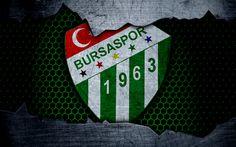 Hämta bilder Bursaspor, 4k, logotyp, Super Lig!, fotboll, football club, grunge, Bursaspor FC, konst, metall textur