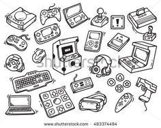 Set of video game doodle. Mhatzapa