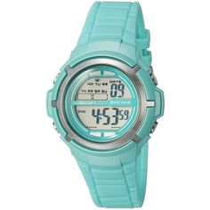Armitron Sport/7045TLGD Silver-Tone Accented Digital Teal Resin Strap... ($19) ❤ liked on Polyvore featuring jewelry, watches, dual time watches, digital sport watches, sports watches, silvertone jewelry and sports wrist watch