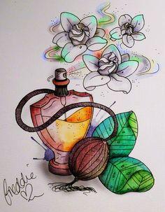 Gardenia #perfume #tattoo by Freddie Albrighton - Apprentice at Dollyrockers Tattoo/Piercing in Birmingham UK