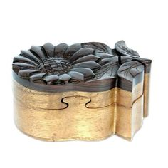 Wood puzzle box, 'Balinese Sunflower' by NOVICA