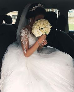 Most Beautiful Ball Gown Wedding Dress with Lace Appliques 2018 Sheer Long Sleeves Fluffy Tulle Bridal Gowns Romantic Illusion Jewel Neck Bride Dresses Dream Wedding Dresses, Bridal Dresses, Bridesmaid Dresses, Tulle Wedding, Gown Wedding, Wedding Goals, Wedding Pics, Bridal Looks, Ball Gowns