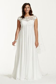 Cap Sleeve Chiffon A-Line Plus Size Wedding Dress 9WG3698
