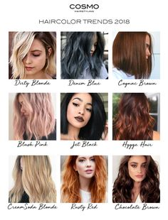 These are the haircolor trends of 2018! Natural Hair, Blush Pink, Denim blue, Jet Black, Cream Soda Blonde, Cognac Brown, Chocolate hair , Red Hair, Dirty blonde, Hygge Hair