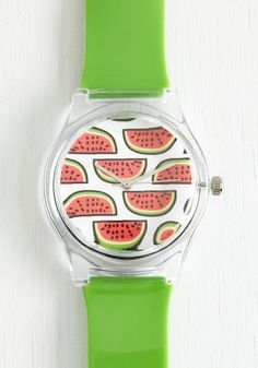 Rind or Reason Watch. Theres a merry method to your style - and it involves adorable accessories like this watermelon watch! #green #modcloth