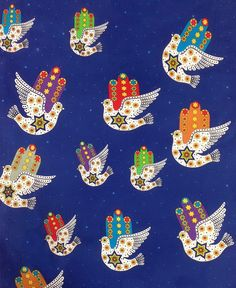 Hamsa Dove of Peace Jewish Judaica Fabric on Blue.  Great piece for your Rosh Hashanah crafts and Home Decor. Sold in 1/2 yard increments.    Chamsa (Hamsa): Hand of G-d symbol  Chamsa Dove with Stars of David, flowers, and dots.  Background includes