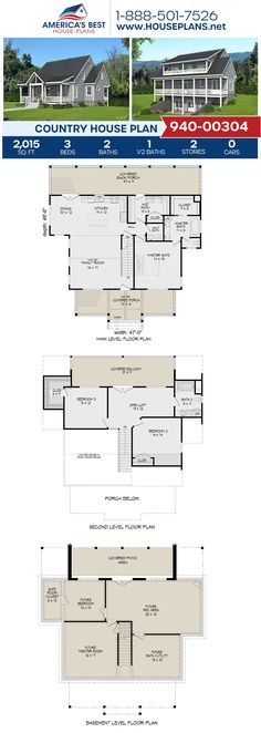 Plan 940-00304 delivers a 2-story Country home design complete with 2,015 sq. ft., 3 bedrooms, 2.5 bathrooms, a kitchen island, an open floor plan, a loft, a mudroom, and a theater room. #country #basement #twostoryhouse #architecture #houseplans #housedesign #homedesign #homedesigns #architecturalplans #newconstruction #floorplans #dreamhome #dreamhouseplans #abhouseplans #besthouseplans #newhome #newhouse #homesweethome #buildingahome #buildahome #residentialplans #residentialhome Country House Design, Country House Plans, Best House Plans, Dream House Plans, Floor Plan Drawing, Stair Detail, Dormer Windows, Construction Cost, Two Story Homes