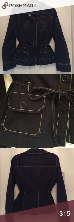LOFT Navy Blue Spring Jacket Adorable & classic 98% cotton, 2% spandex navy blue jacket with two front pockets. Jacket has a skinny belt that threads through loops--both of which have accented green thread. Snap buttons. Sleeves roll up to adjust to arm length. Great little jacket! LOFT Jackets & Coats
