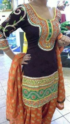 super bright for a mehendi or garba event. Punjabi Fashion, India Fashion, Suit Fashion, Ethnic Fashion, Bollywood Fashion, Asian Fashion, Punjabi Dress, Punjabi Suits, Saree Dress