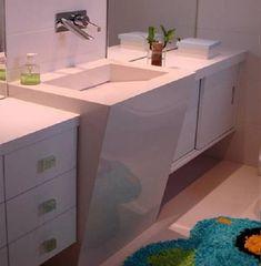 Pia de porcelanato para banheiro com saia ate o chão E Design, Filing Cabinet, Vanity, Bathroom, Storage, Furniture, Portobello, Home Decor, Bowls