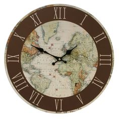 A Stunning Vintage World Map Circular Wall Clock Is A Stylish Addition To  Any Home Made