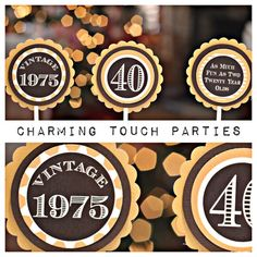 40th Birthday party decor.  Gold and black cupcake toppers by Charming Touch Parties.  Fully assembled and customizable.