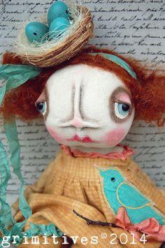 Birdie! Primitive Original Art Doll Spring Doll by GRIMITIVES on Etsy.