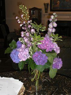 Hydrangea & delphinium arrangement
