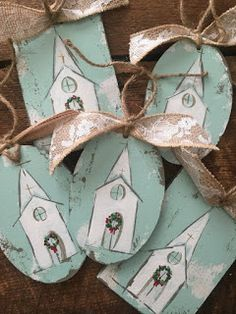 Christmas Wood Crafts, Painted Christmas Ornaments, Homemade Christmas, Rustic Christmas, Christmas Projects, Christmas Art, Holiday Crafts, Christmas Holidays, Nativity Ornaments