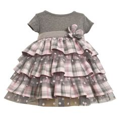 Bonnie Baby Jean Dress Cute Grey and Light Pink Polka Dots Set Outfit Bloomers Modest Outfits, Kids Outfits, Little Girl Skirts, Newborn Fashion, Tartan Fashion, Baby Jeans, My Baby Girl, Baby Girls, Jeans Dress