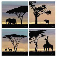 African Animals, African Safari, African Art, Silhouette Painting, Animal Silhouette, African Sunset, Fauna, Graphic Art, Wall Art