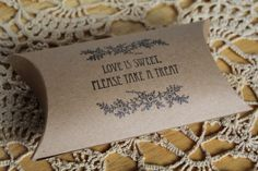 Set Of 10 Love Is Sweet Please Take A Treat Wedding Candy Bar Gift Pillow Boxes Hand Stamped via Etsy