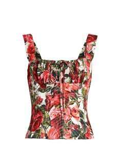 Dolce & Gabbana's Tonal-Pink Cotton-Poplin Bustier Top in D & G's Signature Rose Print. It's detailed with Corsetry-Style Boning and a Lace-Up Back. Pair it with Cropped, Tapered Boy-Friend Jeans in a Medium Wash. Now add a little Shine with a Vintage Locket, Earrings and a Smiling Serpent Bracelet. Pink Suede Ankle-Wrap Sandals and an Ivory Slouch Bag finish off (It's all on this board). Do you think the World is Watching? They Are. - Gabrielle