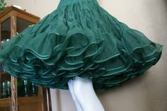Three Layer Emerald Green Petticoat  Size MediumLarge by QsVintage, $53.00