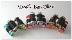 "Dog Bows,  ""All Tied Up"" are another creative original show dog bows design by Doggie Bow Ties! This dog bow features gold edges on layered satin which resembles a 'tied up bow' on top of a bow."