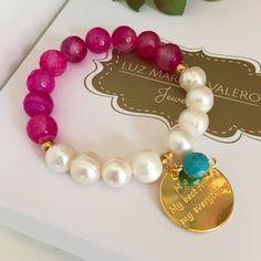 Pulsera ágatas y perlas by Luz Marina Valero