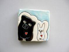 Animal Art, Small, Black Bear Loves Bunny Mini Wall Art, White and Blue Ceramic Wall Tile, Home Decor, Woodland Animal Art Pottery