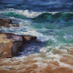 "An 8"" x 8"" oil on Belgian linen of Laguna Beach painted en plein air"