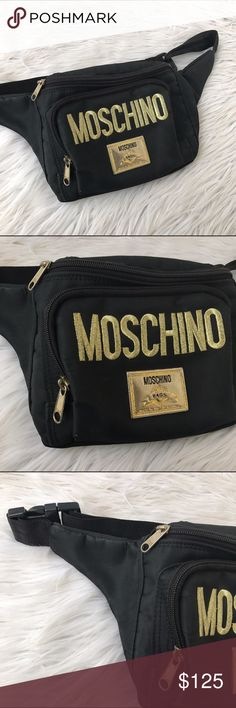 MOSCHINO BLACK FANNY PACK BAG PURSE NYLON Super cute MOSCHINO fanny pack:) Moschino Bags