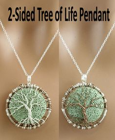 2 Sided Tree Of Life Necklace Green Lava Rock by Just4FunDesign