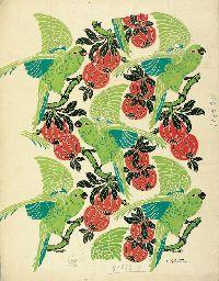 Henri Gillet, green cockatoos and orange fruit, ca. 1913