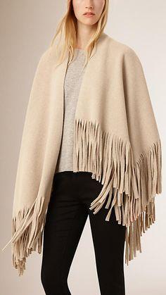 Areia Poncho de cashmere e feltro de lã com franjas - Imagem 1