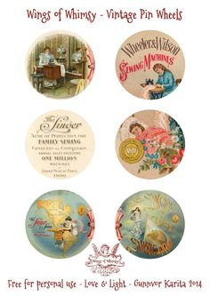Wings of Whimsy - Vintage Pin Wheels - these are for storing you sewing pins, they get inserted between 2 of these circles with padding in between.