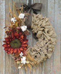Sunflower Burlap Wreath, Fall Burlap Wreath, Cotton Boll Burlap Wreath, Autumn…