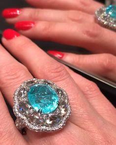 Sutra jewellery. Paraiba Tourmaline & Diamonds ring
