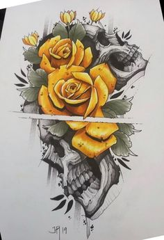 Skull Rose Tattoos, Body Art Tattoos, Sleeve Tattoos, Skull Tattoo Design, Skull Design, Tattoo Designs, Tattoo Sketches, Tattoo Drawings, Schrift Tattoos