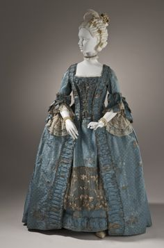 Woman's Robe a la Française, England, c. 1765, Silk plain weave (faille) with silk and metallic-thread supplementary-weft patterning, and metallic lace, LACMA Collections