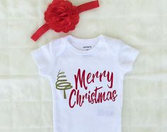 merry christmas baby girl bodysuit baby girl onesie baby girl shirt take home outfit hospital outfit baby shower gift personalized baby