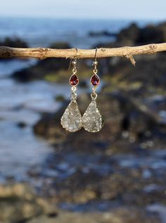 Small Garnet Druzy Elegant Dangle Drop Earrings ~ Red and Gold Delicate Jewelry, Welcome to the Family Gift Idea for Her, Tear Drop Pear by LolaBelleGems on Etsy
