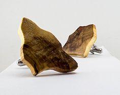 Wooden Cufflinks, Abstract Cufflinks, Handmade, Silver, OOAK, Raw Wood Cufflinks, Natural Wood Jewelry, Nature Designed – Artist Made