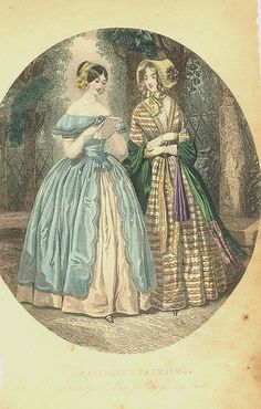 Unrivalled Fashions Elegant ladies in walking dresses as featured in Godey's Ladys Book, 1856 Victorian Art, Victorian Women, Victorian Vampire, Historical Costume, Historical Clothing, Antique Clothing, Vintage Outfits, Vintage Fashion, French Fashion