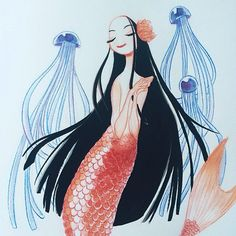 Enoki mushroom jellyfish by Clio Chiang Mythical Creatures, Sea Creatures, Mythological Creatures, Medusa, Mermaid Fairy, Mermaid Drawings, Quirky Art, Mascot Design, Mermaids And Mermen