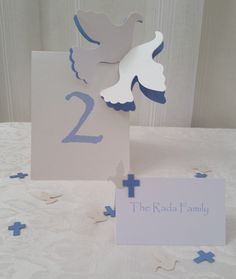 Baptism Dove Cross Place Cards, Table Numbers & Confetti Package by SetToCelebrate