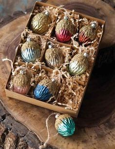 OPALINE WALNUT ORNAMENTS (SET OF 9)--hmmm I could probably make something like this for next year's Xmas tree!